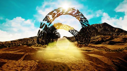 4K Strange Alien Shape in an Arid Landscape Fantasy 3D... Stock Video Footage