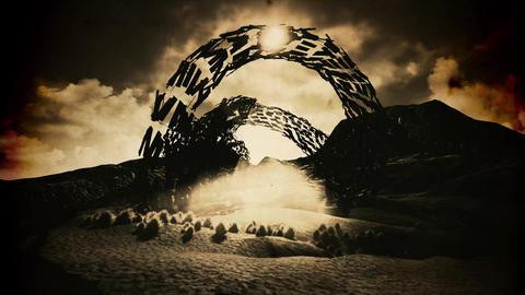 4K Strange Alien Shape in an Arid Landscape Fantasy Vintage 3D Animation Animation