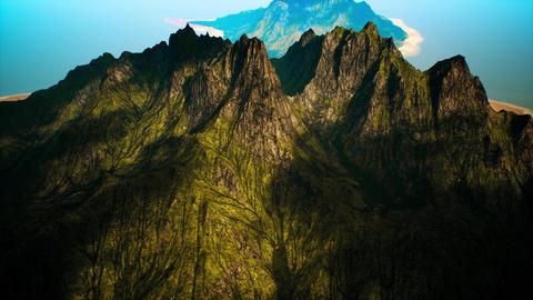 4K Volcanic Mountain Island Cinematic Aerial 3D Animation Animation