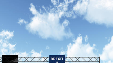 4K Passing Blue BREXIT Sign at Daytime Animation