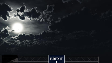 4K Passing Blue BREXIT Sign at Night Animation