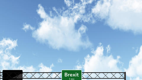 4K Passing Green BREXIT Sign at Daytime Animation