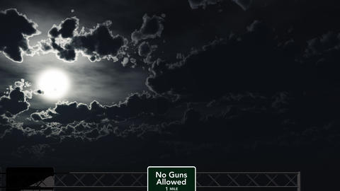 4K Passing No Guns Allowed Sign at Night Animation