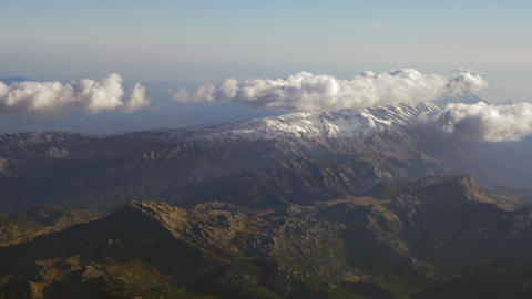 Aerial mountain scenery with clouds Footage