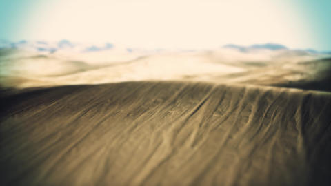 4K Aerial Shot of a Massive Sandy Desert Cinematic Tilt Shift 3D Animation Animation
