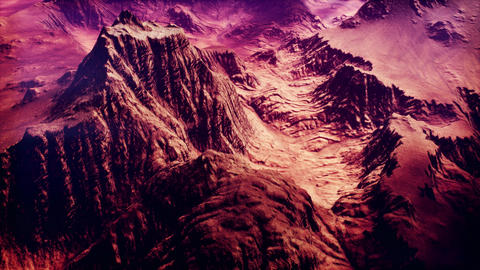 4K Aerial View of a Rocky Canyon Surreal Cinematic 3D Animation Animation
