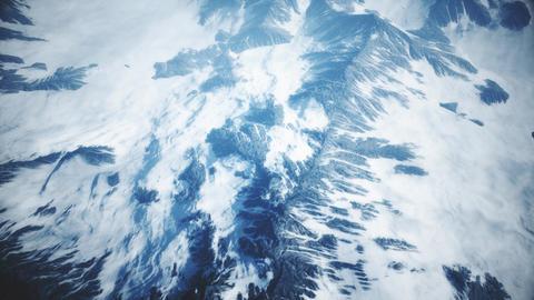 4K High Altitude Aerial of Snowy Mountain Terrain Cinematic 3D Animation Animation