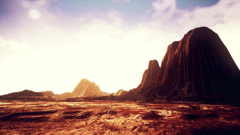 4K Low Altitude Aerial in Rocky Desert Cinematic 3D Animation Animation