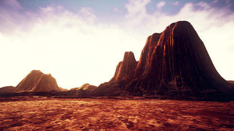 4K Red Rocks Arid Landscape Under Cloudy Sky Cinematic 3D Animation Animation