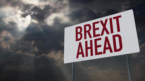 4K Brexit Ahead Warning Sign under Clouds Timelapse Animation