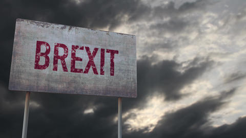 4K Brexit Rusty Sign under Clouds Timelapse Animation