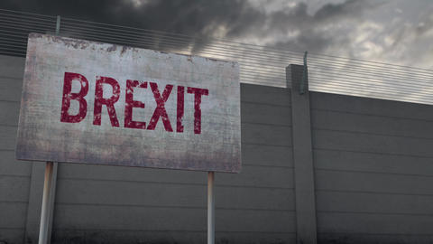 4K Brexit Warning and Strong Fence under Clouds Timelapse Animation