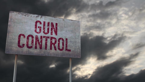 4K Gun Control Rusty Sign under Clouds Timelapse Animation