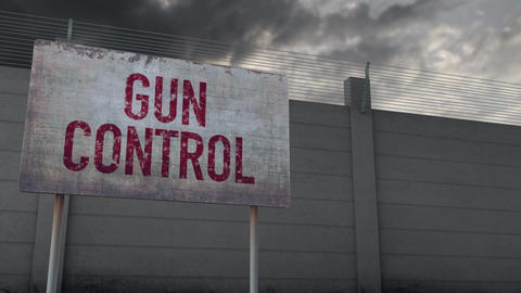 4K Gun Control Warning and Strong Fence under Clouds Timelapse Animation