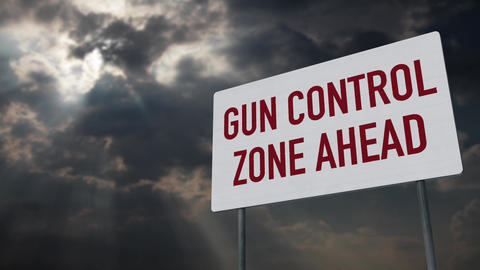 4K Gun Control Zone Ahead Warning Sign under Clouds Timelapse Animation