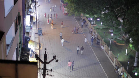 Hindu temple in tamilnadu at night, people entry temple at night time Footage