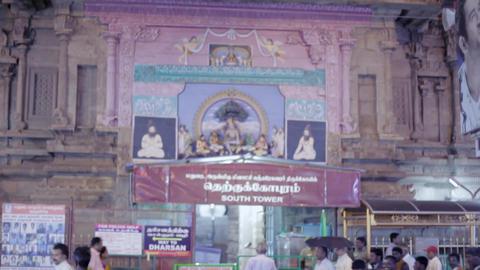 Sculptures on Hindu temple entrance, Menakshi Temple, Madurai, Tamil Nadu, India Live Action