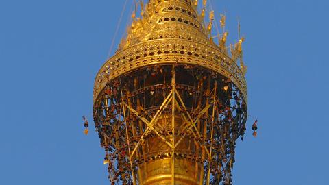 Top of Shwedagon pagoda in Yangon, Myanmar Footage