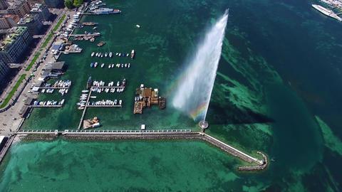 4K Aerial footage of Geneva city water fountain in Switzerland -UHD Footage