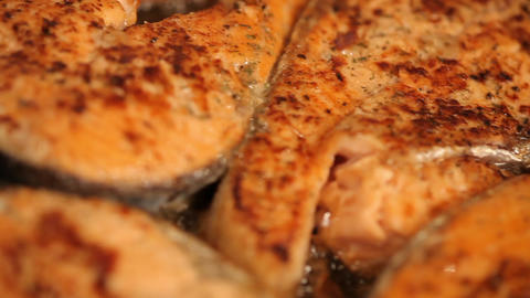 Salmon fried in a pan Live Action