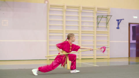 Wushu young girl training with spear, martial arts ビデオ