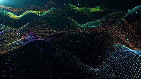 Particles wave abstract background 00163 Stock Video Footage