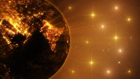 3D Earth by Night with Light Rays and Constellations Loop Background Animation