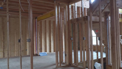 Residential Home Construction Site Framed Close Up a wide shot of a new home Live Action