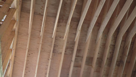 House timber frame for a progressing house a new... Stock Video Footage