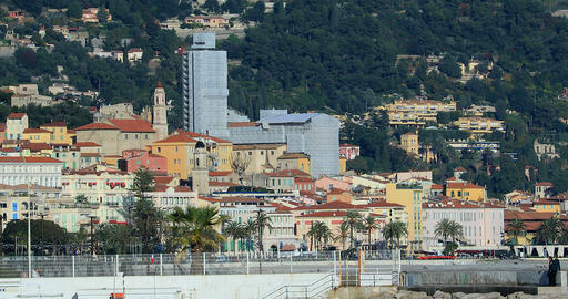 View Of The Old Town Of Menton From Roquebrune Cap Martin ビデオ