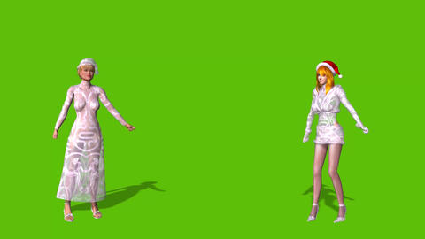 Christmas card- two sexy snowgirls dancing on green background Animation