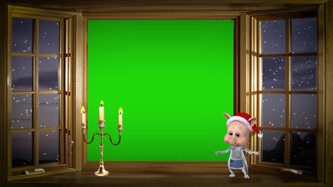 Christmas card, funny piggy dancing on background with a green screen Animation