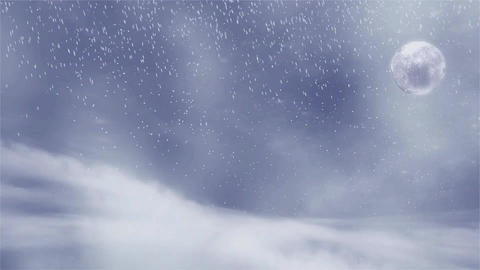 Winter background with snow storm, and moon sutable for Christmas Animation