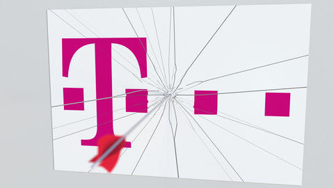 T TELEKOM company logo being hit by archery arrow. Business crisis conceptual Live Action