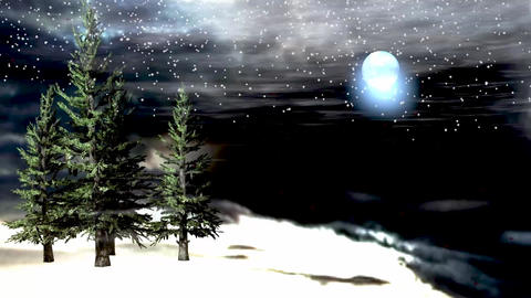 Animated winter night background with windy moving tree and shine moon with snow Animation