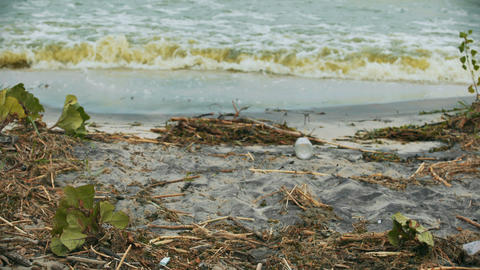 Polluted water splashing on shore, danger to health, environmental disaster Footage