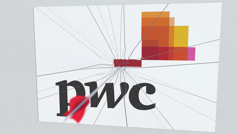 Archery arrow hits plate with PWC logo. Corporate problems conceptual editorial Live Action