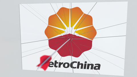 Archery arrow breaks glass plate with PETROCHINA company logo. Business issue Live Action