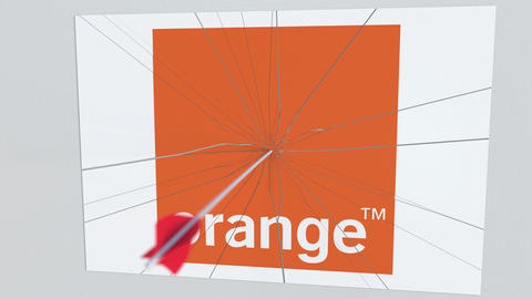 ORANGE company logo being hit by archery arrow. Business crisis conceptual Live Action