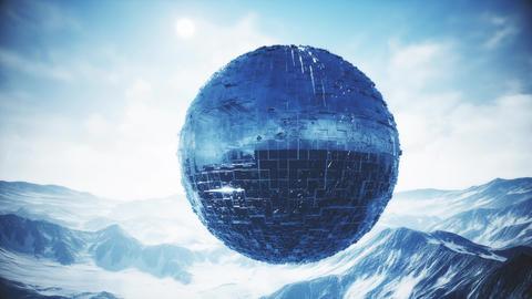 4K Alien UFO Globe in Winter Rocky Mountains 3D Animation Animation