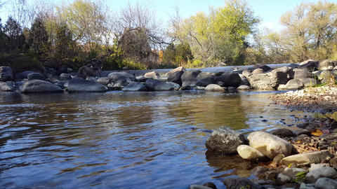 Fish Ladder Step in Autumn River. Fish Steps, Fishway, Fish Pass Live Action