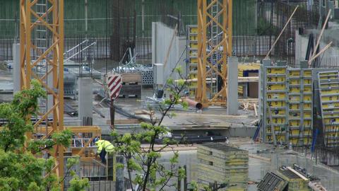 4K Building Construction Crane Basement Setup Live Action