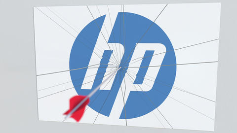 HP company logo being hit by archery arrow. Business crisis conceptual editorial Footage