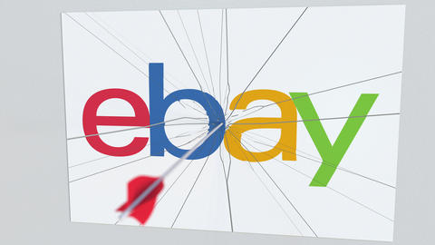 EBAY company logo being hit by archery arrow. Business crisis conceptual Live Action
