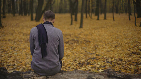 Guy sitting in park inspired by beautiful nature and thinking about past life Live Action
