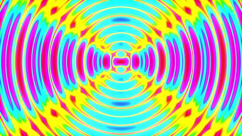 Slow Colorful Psychedelic Concentric Waves Abstract Motion Background Loop Animation
