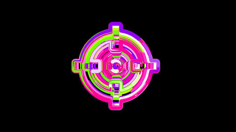 Circles gather in symbol crosshairs. After it crumbles in a line and moves to Animation