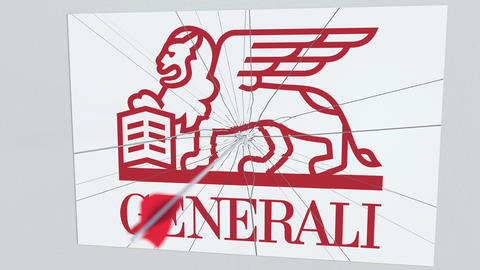 GENERALI company logo being hit by archery arrow. Business crisis conceptual Live Action