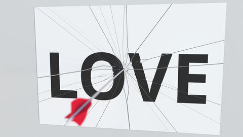 LOVE text plate being hit by archery arrow. Conceptual 3D animation Footage