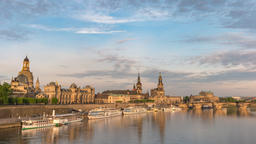 Dresden Germany time lapse 4K, city skyline timelapse at Elbe River Footage